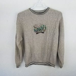 Bill Blass Duck Deere FIsh Graphic Sweater